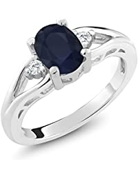 925 Sterling Silver Blue Sapphire 3-Stone Women's Ring...