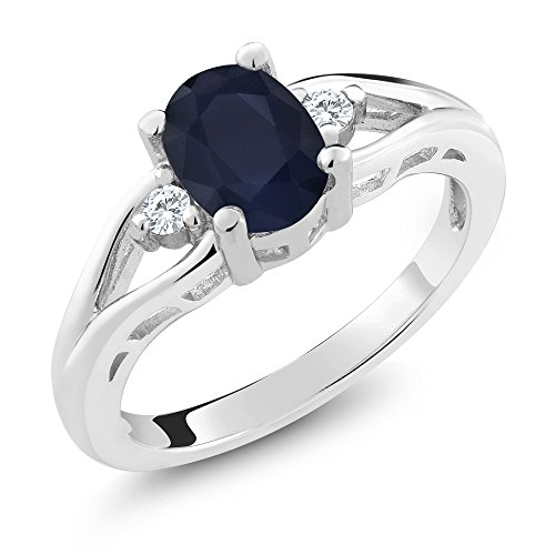 (Gem Stone King 925 Sterling Silver Blue Sapphire 3-Stone Women's Ring 1.83 8x6mm Oval Gemstone Birthstone (Size 6))