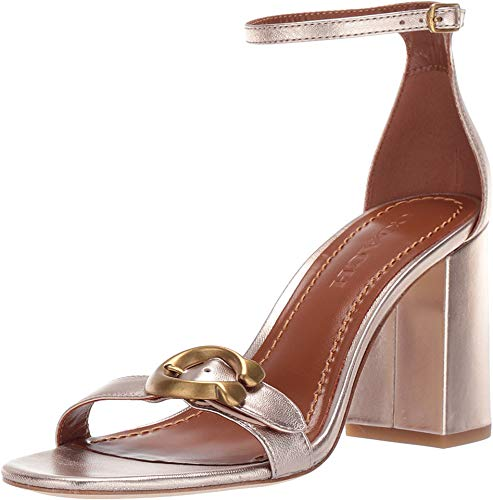 Coach Women's Maya 85 mm. Sandal with Signature Buckle Champagne Metallic Leather 10 M US