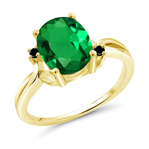 Gem Stone King 2.23 Ct Oval Green Simulated Emerald Black Diamond 14K Yellow Gold Ring (Size 9)
