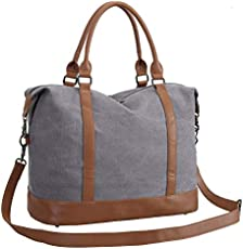CAMTOP Women Ladies Weekender Travel Bag Canvas Overnight Carry-on Duffel  Tote Luggage (Gray) c04104702397b