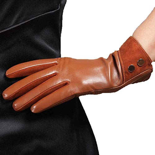 Super Mittens 3 Ragazza In Short Braun Fashion Chic Pelle Colori Fucinati Warm Guanti Da Donna Classic zPOqqw
