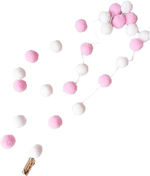 Lorsoul 2m Handmade Felt Balls Kids Room Ornament Wall Hanging Home Decor Nursery Pom Pom Garland Party Props