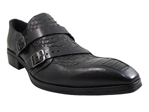 Jo Ghost 2713 Mens Python / Cuir Luxueux Pointy Habillé Chaussures Noir