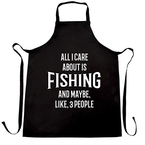 Joke Chefs Apron All I Care About Is Fishing And 3 People Black One Size