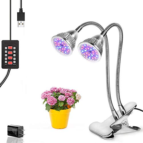[Auto Turn On/Off] 10W Dual Head Timing Plant Grow Lights, 48 LED 5 Dimmable Levels with Red/Blue Spectrum for Indoor Plants, 3/6/9/12/15H Timer, Adjustable Gooseneck [DZLight] For Sale