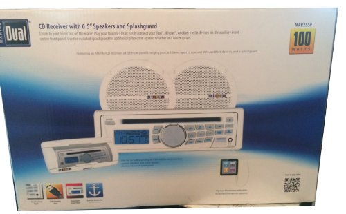 Dual MAR25SP Marine CD Receiver with 6.5'' Speakers and Universal Splashguard by Dual Electronics