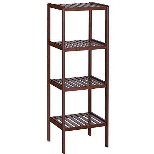 Bamboo Bathroom Shelf Stand, 4-Tier Brown Storage Rack Shelving Unit, Free Standing Shelf Units for Bedroom Hallway Kitchen