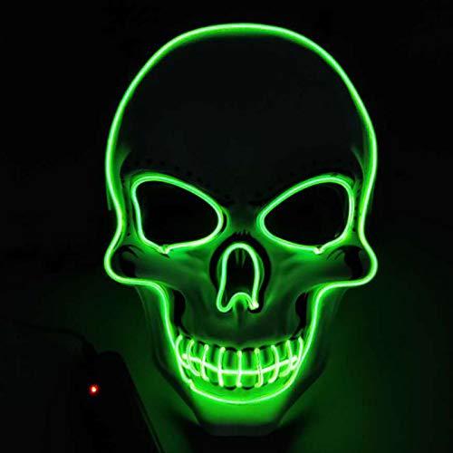 Máscara de luz LED, Disfraz de máscara Verde Fluorescente, Batería ...