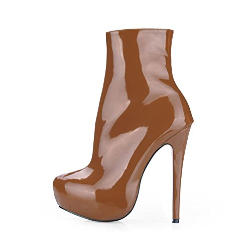 heel leather head and brown Europe boots the female new high round ladies varnished boot Brown shoes In winter w18xOw