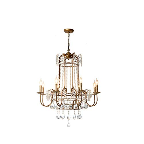 (SX-ZZJ &Chandelier Crystal Living Room Chandelier Restaurant Iron Candle Double Stairwell Lamp Chandelier%Chandeliers (Color : White Light))