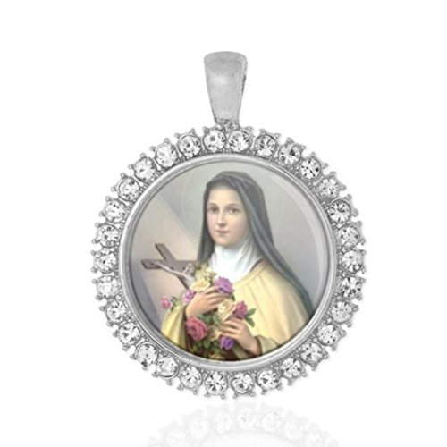 (St Therese Of Lisieux Little Flower Religious Round Medal Silver Tone Pendant with Rhinestones)