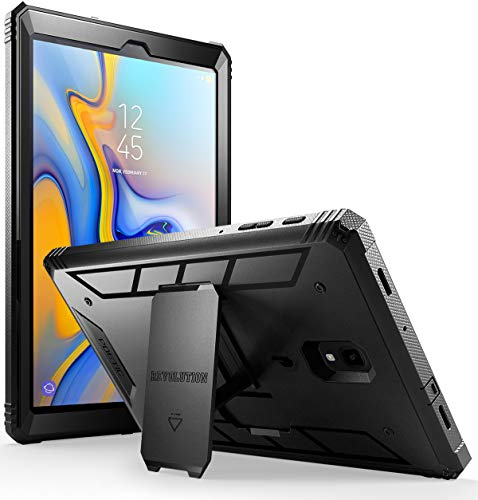 Galaxy Tab A 10.5 Ruggd Case with KickStand, Samsung Model SM-T590/T595/ T597 2018 Released, Built-in-Screen Protector, Revolutions Series, Poetic Full Body Heavy Duty ShockProof Protective Case,Black