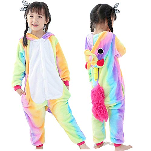 Halloween Cosplay Costume Unicorn Onesie Pajamas OnePiece Animal Outfit Homewear, Rainbow-1, Size110 for 41-45