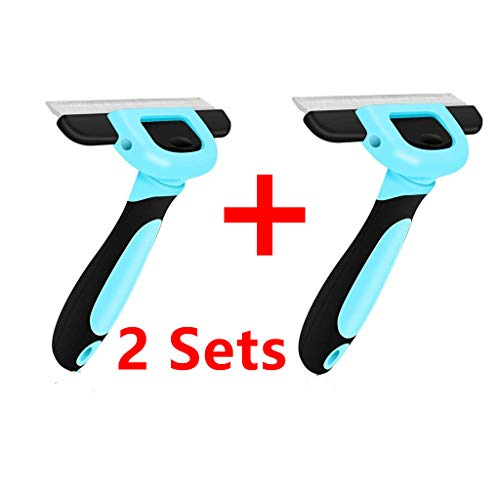 (DELE Pet Shedding Brush Comb Grooming Large Brush Deshedding Tool Comb with 4 Inches Stainless Steel Edge for Pet(Dogs/Cats) Short Hair and Long Hair (A Pair Deshedding Tool, L))