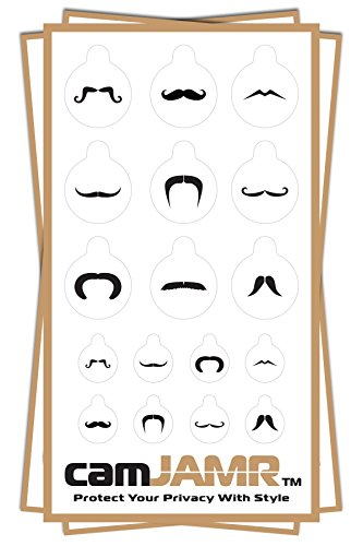Online Privacy Stickers for Laptops, Tablets, Phones and more! camJAMR Mustache Pack (3 Packs – 51 Total Webcam Covers) For Sale