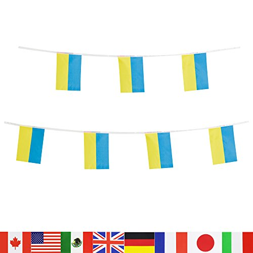 Ukraine Flag Ukrainian Flag,LoveVC 100 Feet National Country World String Flags Banners,International Party Decorations Supplies For Olympics,Sports Clubs