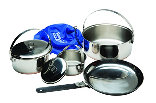 Texsport 6 piece Stainless Steel Copper Bottom Outdoor Camping Cookware Cook Set with Storage Bag