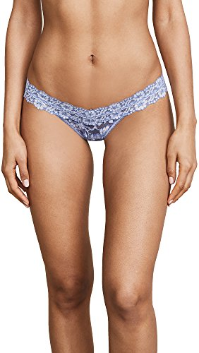 Hanky Panky Women's Cross Dyed Signature Lace Low Rise Thong, Chambray/Ivory, Purple, Blue, One Size