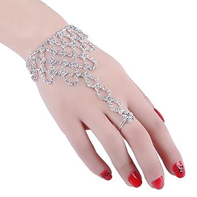 2 Pcs Fashion Women Girl Rhinestone Hand Harness Bracelet Bangle Slave Chain Link Finger Ring Bracelet