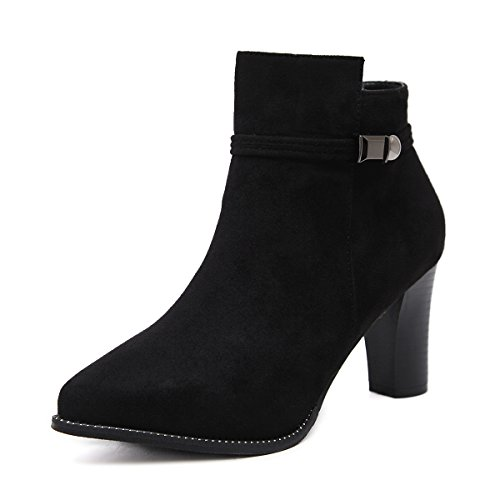 CXQ-Boots qin&X Women's Block Pointed Toe Short Ankle Boots Shoes Black Plush AtLd4