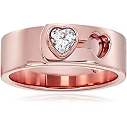 Michael Kors Rose Gold Tone Heart Lock Ring, Size 7 Valentine's Day gift