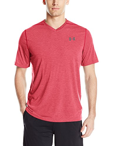 Under Armour Men's Threadborne Siro V-Neck T-Shirt, Red/Graphite, Large