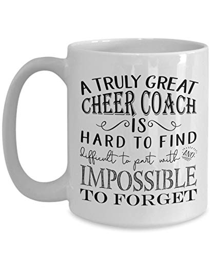 Truly Great Cheer Coach Mug - Cheerleading Coaching Gifts for Women or Men Coaches - Thank You Competition Gift Idea from Youth Cheerleader or Mom (Large 15oz, white)