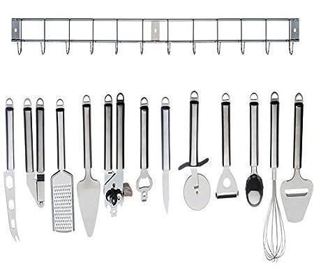 12 Piece Stainless Steel Kitchen Utensil U0026 Gadget Set With Hanging Rack /  Holder   High