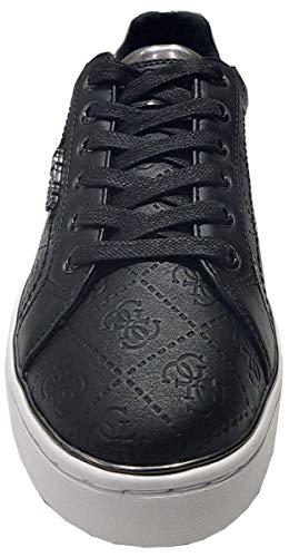 Beckie Chaussures Noir guess Cuir Blanc Femmes Formateurs pxd4Yq4w