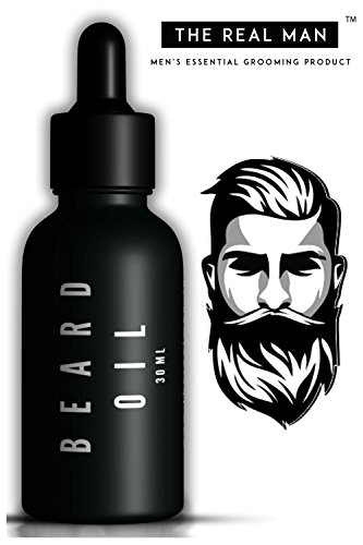 Beard & Mustache Oil Dark Classic 30ml(1.01oz) for hair growth with Jojoba oil | Tee tree oil | Olive oil | Almond oil | Sandal wood Oil | Cedar wood oil | Sunflower oil | Coconut oil by THE REAL MAN
