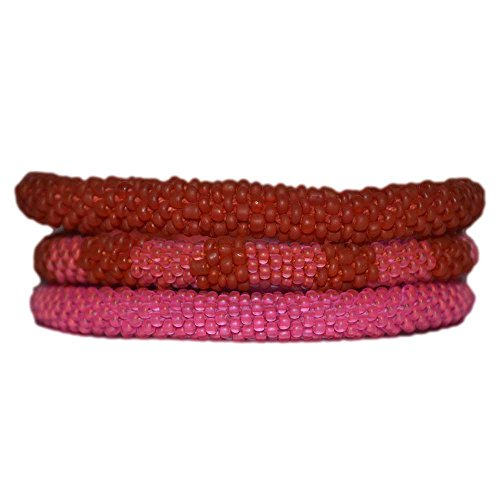 Matte Pink Orangebeaded Bracelets Set,seed Beads, Handmade in Nepal