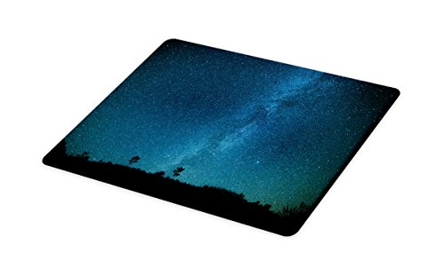 Lunarable Star Cutting Board, Starry Night Sky Calm Quiet Cosmic Nebula View in the Wilderness Outer Space Mystery, Decorative Tempered Glass Cutting and Serving Board, Large Size, Black Blue