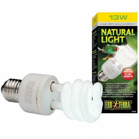 (Exo Terra Repti-Glo 2.0 Compact Fluorescent Full Spectrum Terrarium Lamp, 13-Watt (Natural Light))
