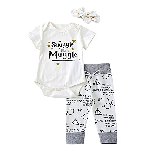 Miwear Baby Boys Girls Letter Print Short Sleeve Romper Bodysuit + Long Pants + Headband Outfits Set (White, 0-6 Months) -