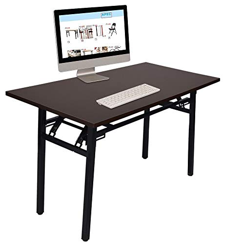 Nesee Modern Folding Computer Desk, Portable Simple Writing Learning Table Double Layer Home Office Conference Study Desk Folding Laptop Table 47