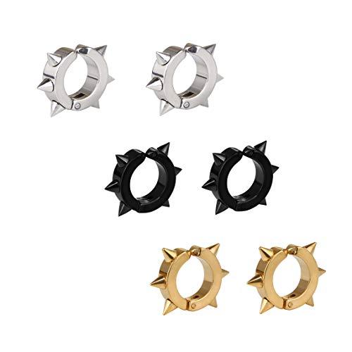 - Daimay 3 Pairs Hoop Spike Punk Earring Six Thorns Clip On Hoop Earrings Non Piercing Stainless Steel Round Circle Ring for Men Women - Black/Gold / Nickel