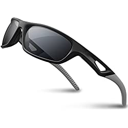 RIVBOS Polarized Sports Sunglasses Driving Sun Glasses Shades for Men Women Tr90 Frame for Cycling Baseball Running Rb831 Black&Grey