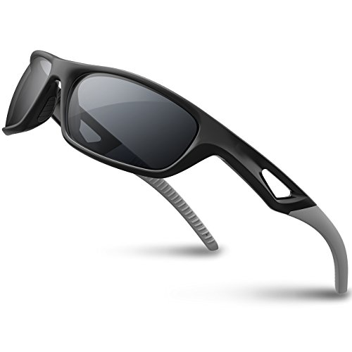 RIVBOS Polarized Sports Sunglasses Driving Sun Glasses Shades for Men Women Tr90 Frame for Cycling Baseball Running Rb831 Black&Grey (And Football Black White Vintage)