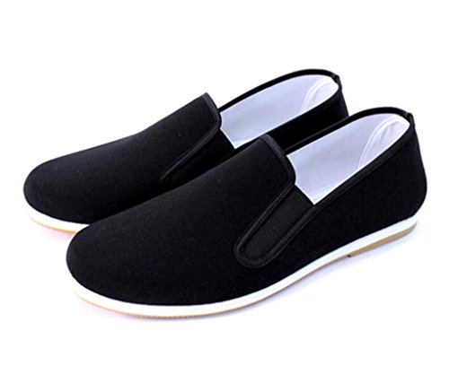 Aircee Men Chinese Traditional Old Beijing Shoes Kung Fu Tai Chi Rubber Sole Shoes Black Black