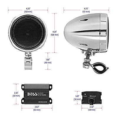 BOSS Audio Systems MC420B Motorcycle Speaker System – Class D Compact Amplifier, 3 Inch Weatherproof Speakers, Volume Control, Great for ATVs, Motorcycles and All 12 Volt Vehicles: Car Electronics