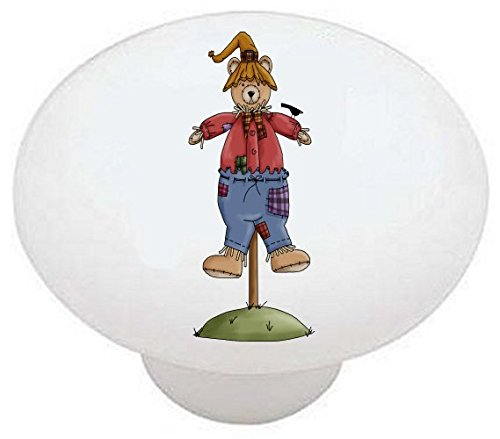 - SCARECROW BEAR #02 - Beary Scarecrows Country Autumn Fall - DECORATIVE Glossy CERAMIC Drawer PULL Dresser KNOB