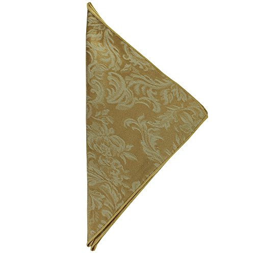 Ultimate Textile (10 Dozen) Miranda 17 x 17-Inch Damask Cloth Napkins- Jacquard Weave, Dijon Gold by Ultimate Textile