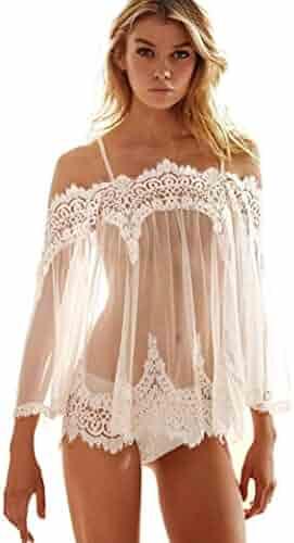 07efc14083c Zeshlla Women Sexy Lace Lingerie Babydoll Sleepwear Bra Dress Set