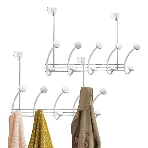 (mDesign Decorative Metal Over-The-Door 10 Long Easy Reach Hook Storage Organizer Rack to Hang Coats, Jackets, Hoodies, Hats, Scarves, Purses, Leashes, Bath Towels & Robes, Clothing - 2 Pack - White)