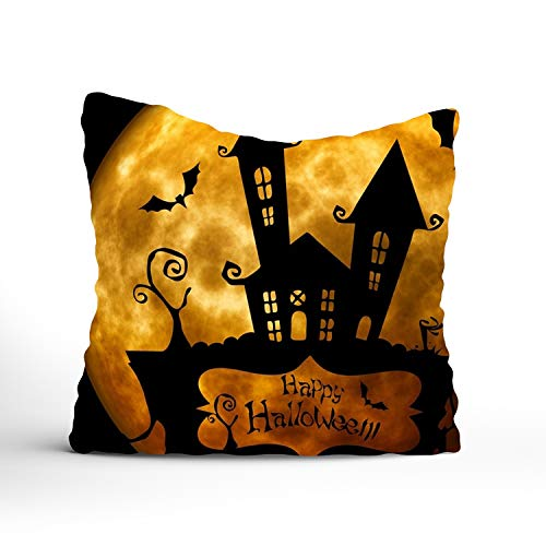 FunnyLife Special Design Interesting Halloween Silhouette House Cotton Throw Pillow Case Home Custom Cushion Cover-Two Side 16x16 inch ()