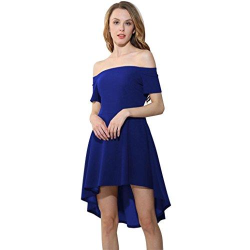 [SRYSHKR Women Off Shoulder Skater Sleeve High Homecoming Party Cocktail Low Skater Dress (S, Blue)] (Adult Grecian Blue Princess Costumes)