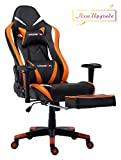 Morfan Gaming Chair Large Size Ergonomic Executive Office Home Racing Chair Lumbar Massager Support &Adjustable Headrest Pillow & Retractable Footrest (Black/Orange) …