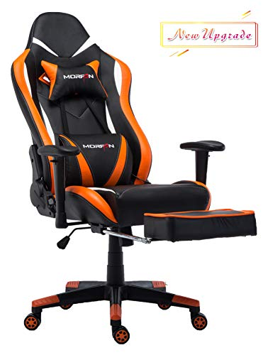 Morfan Gaming Chair Large Size Ergonomic Executive Office Home Racing Chair with Lumbar Massager Support &Adjustable Headrest Pillow & Retractable Footrest (Black/Orange) …
