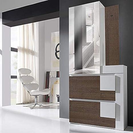 Mueble Perchero Color Blanco Color Madera Oscuro Moderno ...